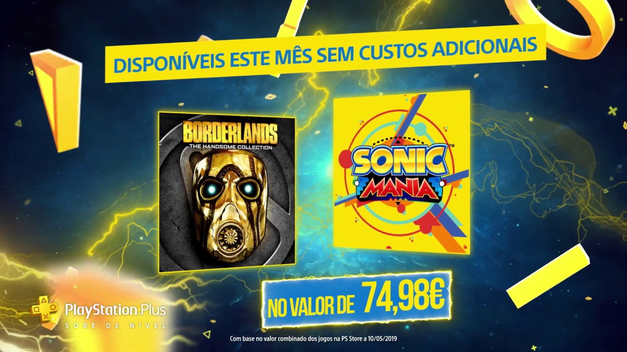 Jogos PlayStation Plus | Junho 2019 | Borderlands: The Handsome Collection + Sonic Mania | PS Plus
